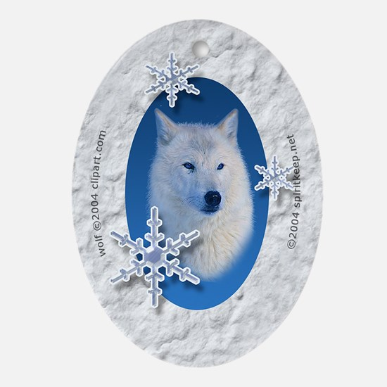 White Wolf in Snow Christmas Oval Ornament