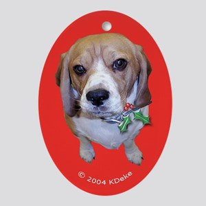 Beagle with Holly Christmas Oval Ornament