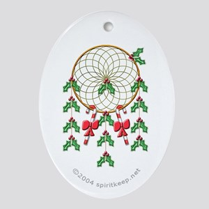 Holly Dreamcatcher Christmas Oval Ornament