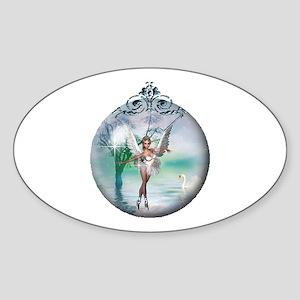 Swan Lake Globe Oval Sticker