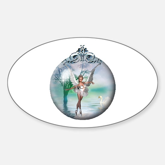Swan Lake Globe Oval Decal