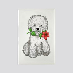 Westie with Flower Rectangle Magnet