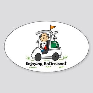 Retired and Golfing Oval Sticker