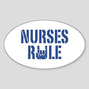 Nurses Rule Oval Sticker
