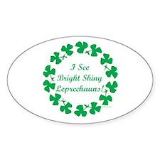 Bright Shiny Leprechauns Bumper Oval Sticker