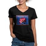 Women's V-Neck Dark T-Shirt/Red-White Rose Meaning