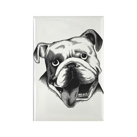 English Bulldog Smiling Rectangle Magnet