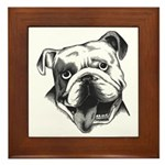 English Bulldog Smiling Framed Tile