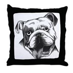 English Bulldog Smiling Throw Pillow