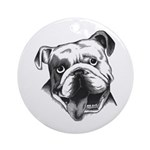 English Bulldog Smiling Ornament (Round)