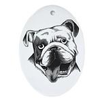 English Bulldog Smiling Oval Ornament