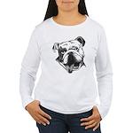 English Bulldog Smiling Women's Long Sleeve T-Shir