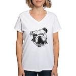 English Bulldog Smiling Women's V-Neck T-Shirt
