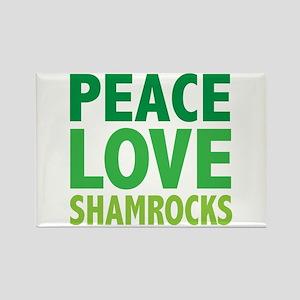 Peace Love Shamrocks Rectangle Magnet