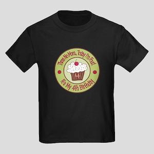 4th Birthday Cupcake Kids Dark T-Shirt