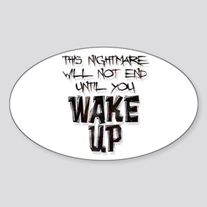 Wake Up Oval Sticker