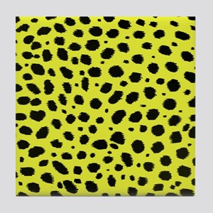 YELLOW ANIMAL PRINT Tile Coaster