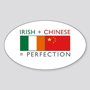 Irish Chinese heritage flag Oval Sticker