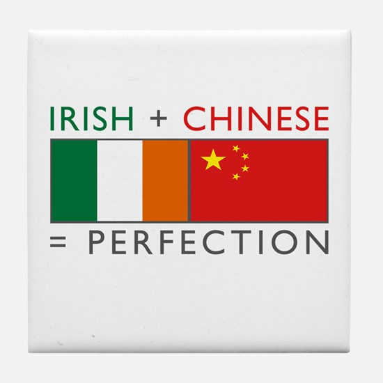 Irish Chinese heritage flag Tile Coaster