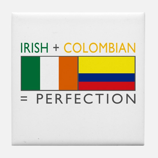 Irish Colombian heritage flag Tile Coaster