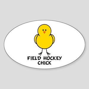 Field Hockey Chick Oval Sticker