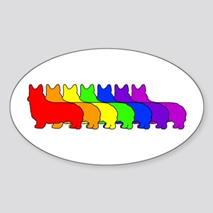 Rainbow Pembroke Oval Sticker