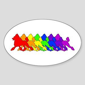 Rainbow Poodle Oval Sticker
