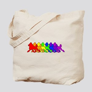 Rainbow Poodle Tote Bag