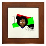 I vote (red, black & green) Framed Tile