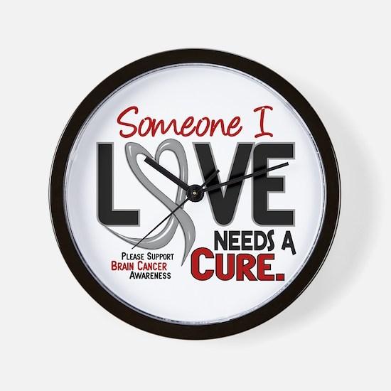 Needs A Cure 2 BRAIN CANCER Wall Clock