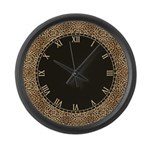 Leopard Spots Skin with Roman Num Large Wall Clock