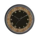 Leopard Spots Skin with Roman Numbers Wall Clock