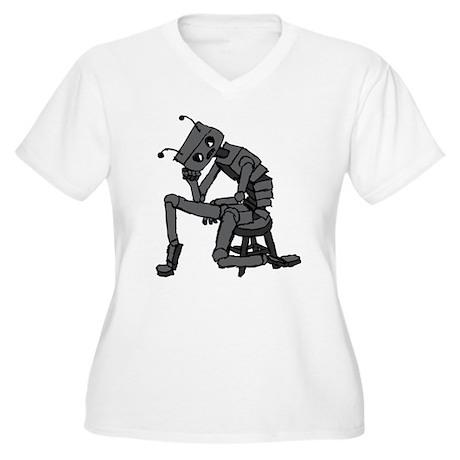 Depressed Robot Women's Plus Size V-Neck T-Shirt