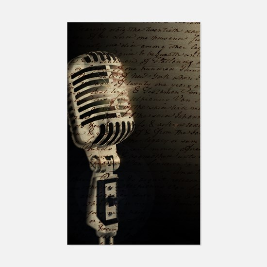 Singers Microphone Notes Rectangle Decal