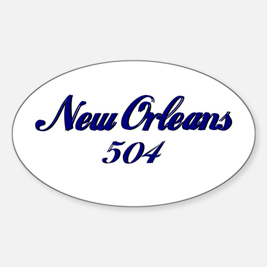New Orleans 504 area code Oval Decal