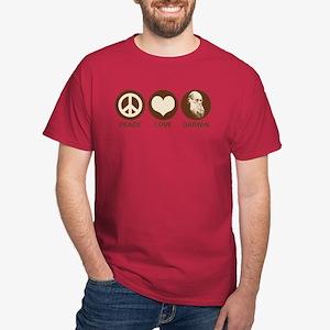 Peace Love Darwin Dark T-Shirt