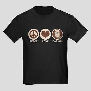 Peace Love Darwin Kids Dark T-Shirt