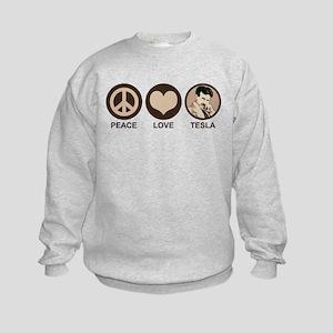 Peace Love Tesla Kids Sweatshirt