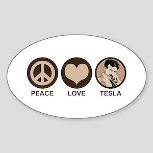 Peace Love Tesla Oval Sticker