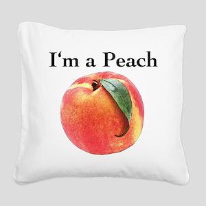 peach Square Canvas Pillow