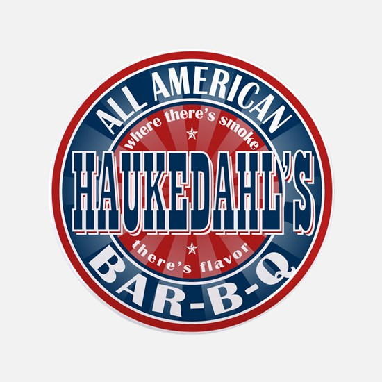 "Haukedahl's All American BBQ 3.5"" Button"