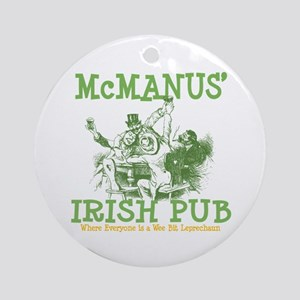 McManus' Irish Pub Personalized Ornament (Round)