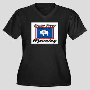 Green River Wyoming Women's Plus Size V-Neck Dark