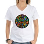 Celtic Stained Glass Spiral Women's V-Neck T-Shirt