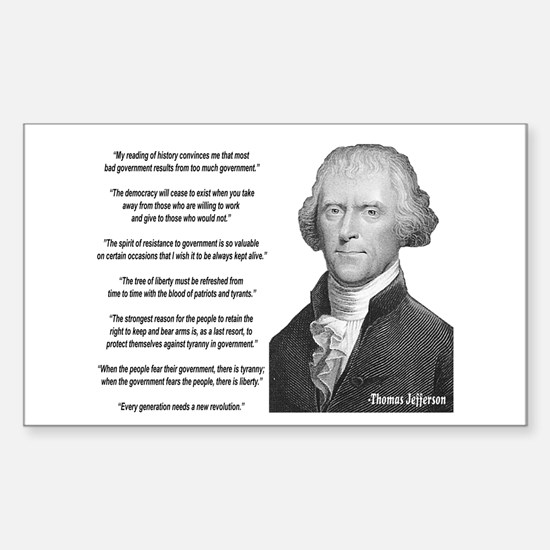jefferson quotes Rectangle Decal