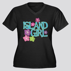 ISLAND GIRL Women's Plus Size V-Neck Dark T-Shirt