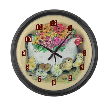 Pottery Hen With Chicks Large Wall Clock