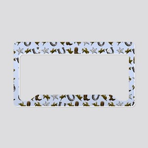 Old West Cowboy Rodeo Pattern License Plate Holder