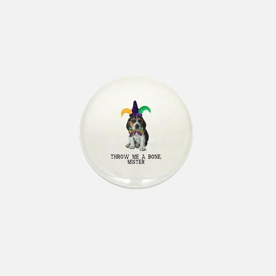 Beagle Mardi Gras Mini Button