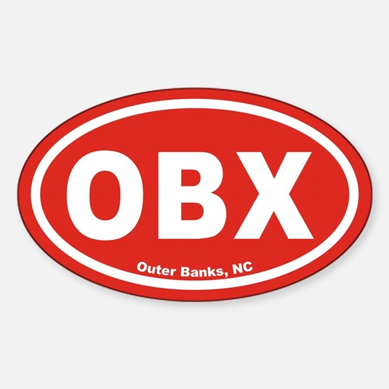 OBX Euro Oval Sticker with Red Background